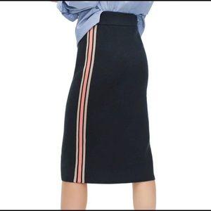 JCREW side stripe sweater pencil knit skirt in park green navy marl